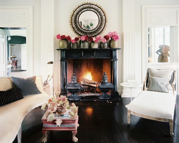 Black Pink Living Rooms with Fireplace