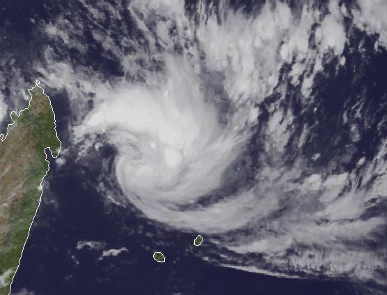 Tropischer Sturm Bansi Mauritius Satellitenbild