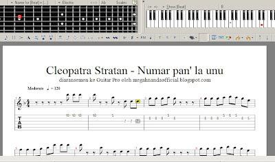 aransemen lagu Cleopatra Stratan - Numar pan' la unu di guitar pro 5