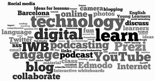 collage of words relating to technology in the classroom, such as: podcast, blog, engage, collaborate, YouTube, etc.