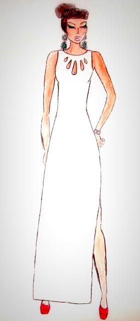 croqui vestido branco festa desenho de moda