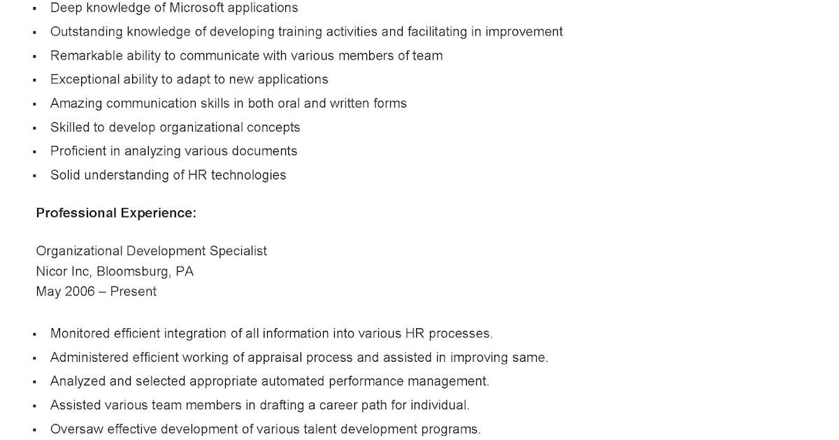 resume samples  sample organizational development