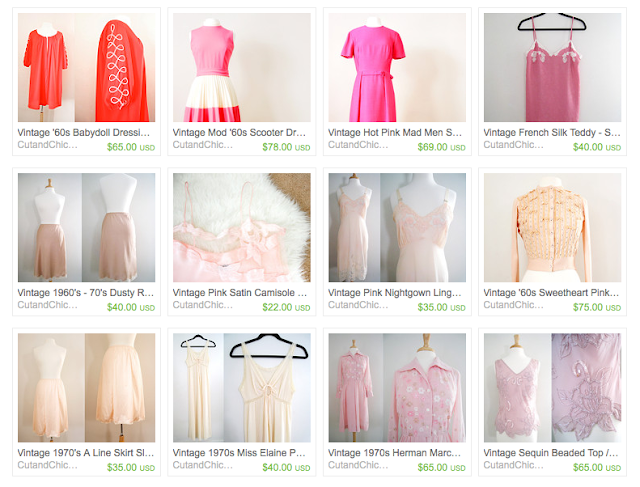 vintage clothing in pink from cut and chic vintage shop