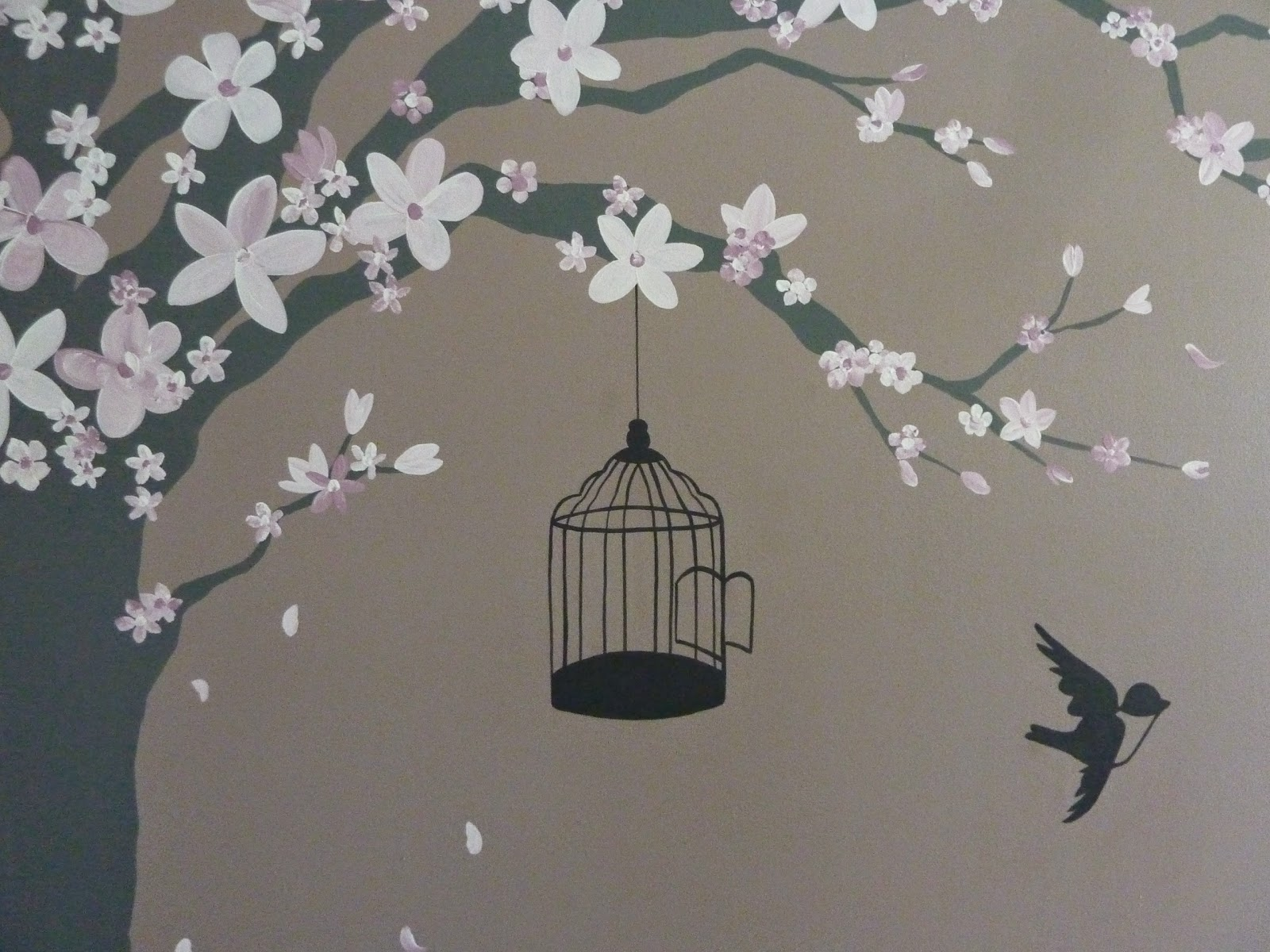 Joanna Perry   Top Mural Artist, Hand Painting Murals Across The UK.: Hand  Painted Cherry Blossom Tree Mural, London Part 68