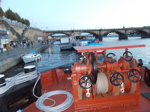 """""""BARGE PARTY"""" on Vltava river wharf in Prague."""