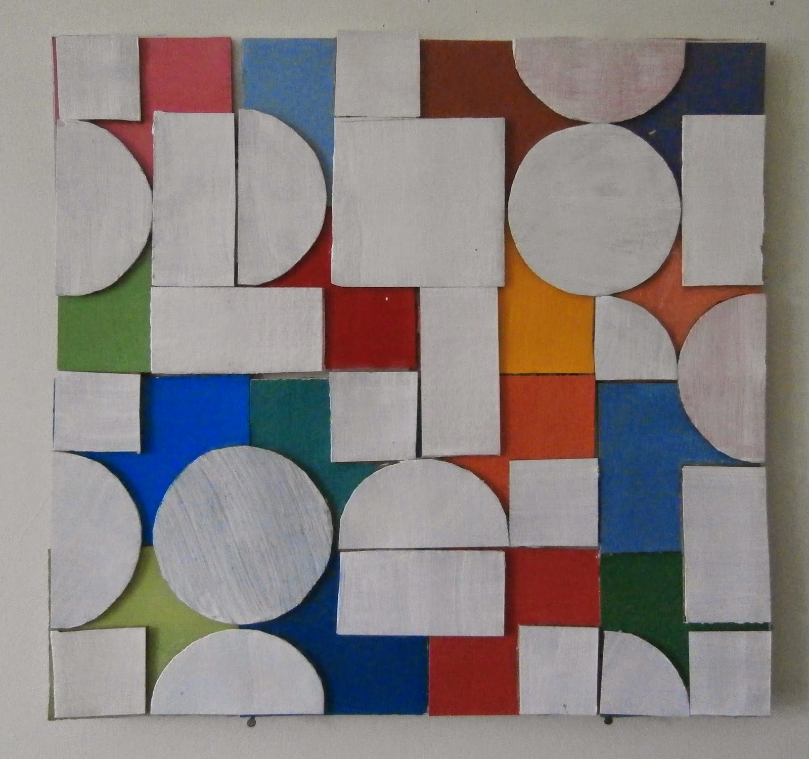circle square cardboard, painting, kate mackay, art, geometric abstraction, non objective, fire station gallery, dubbo