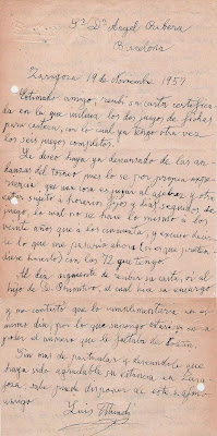 Carta del Dr. Luis Mundi a Ángel Ribera en 1957