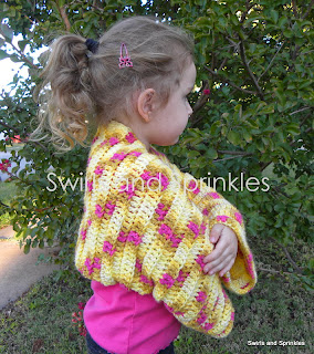 Swirls and Sprinkles: Free crochet pattern.  Child size shrug.