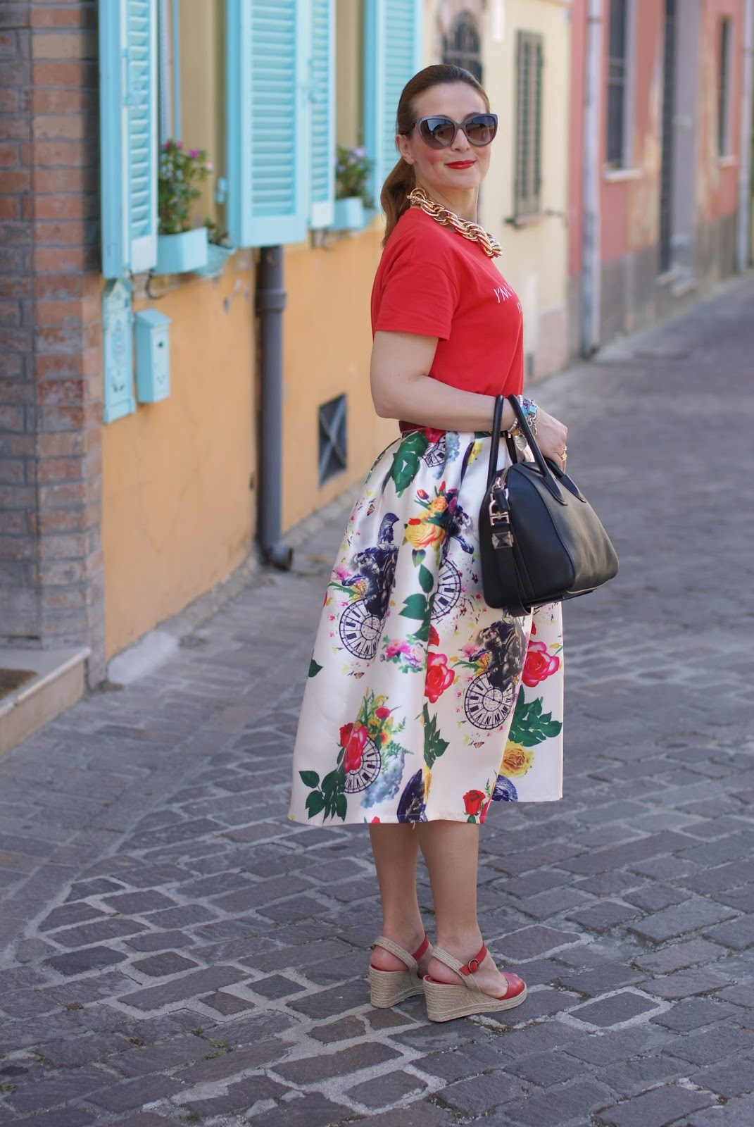 how to style wedged espadrilles with a midi skirt on Fashion and Cookies fashion blog