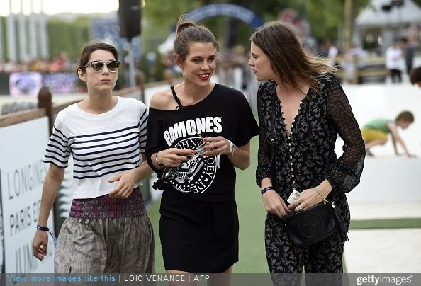 Charlotte Casiraghi, niece of Monaco's Prince, attends the Longines Global Champions Tour Grand Prix de Paris, during the second edition of the Longines Paris Eiffel Jumping tournament