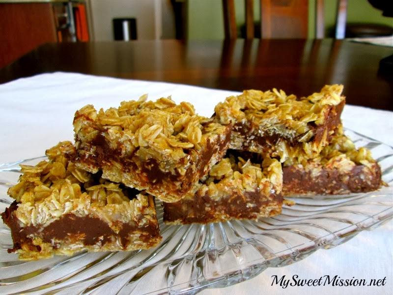 No Bake Chocolate Oat Bars by MySweetMission.net