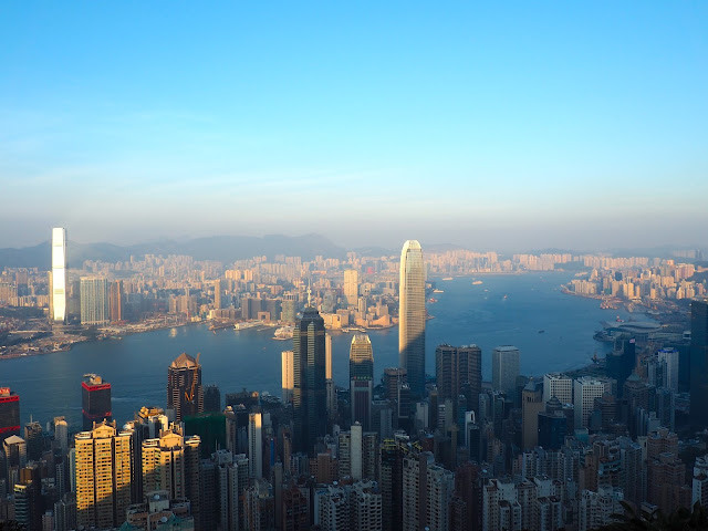 View of Hong Kong skyline, including Central, Kowloon and Victoria harbour, taken from The Peak