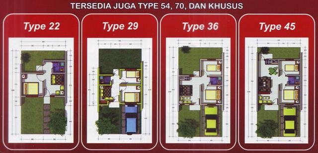 Denah Rumah Type 22 29 36 dan 45 :