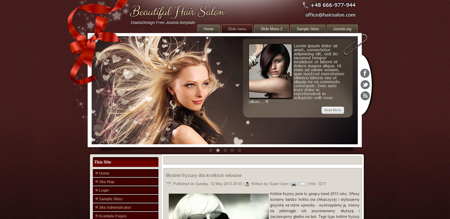 DD Hair Salon Free Joomla Template