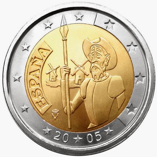 2 euro coins Spain 2005 Cervantes Don Quixote