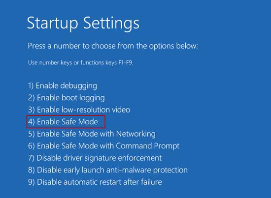 enable windows 10 safe mode to restart
