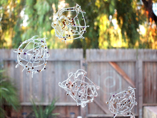 how to make sparkly and lacy yarn spider webs with kids
