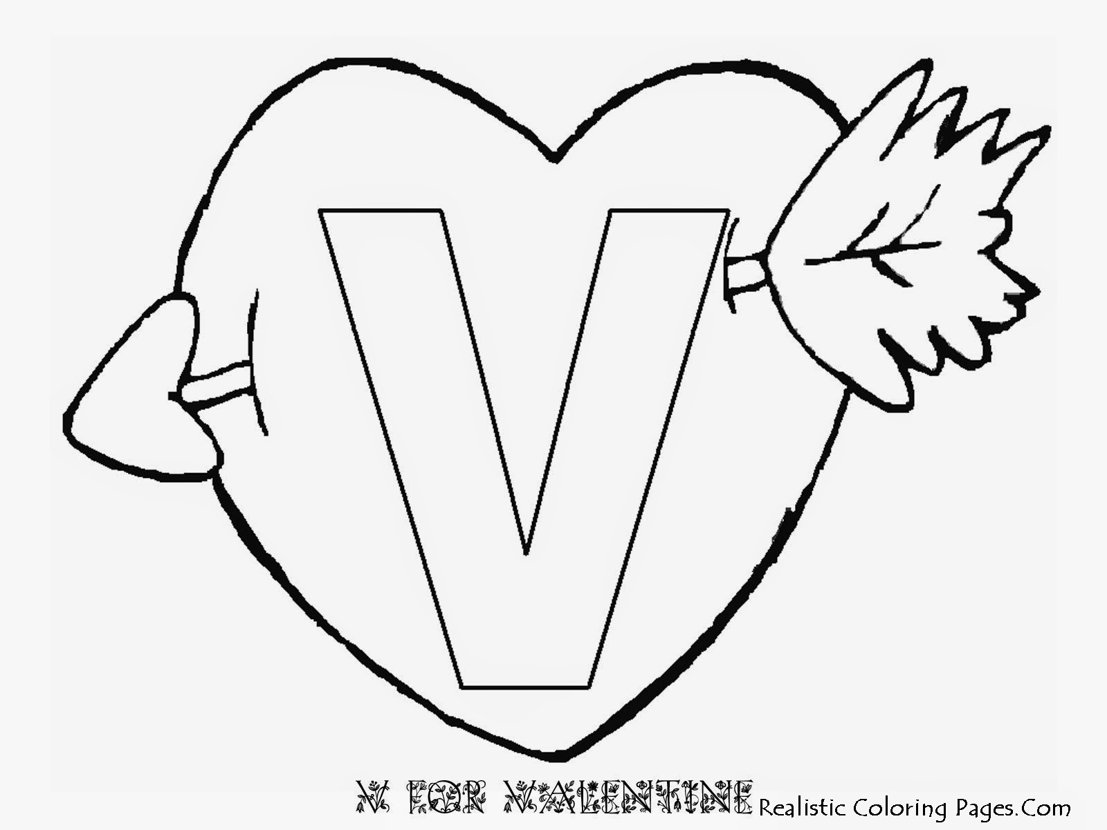 v is for valentine coloring pages - photo #37