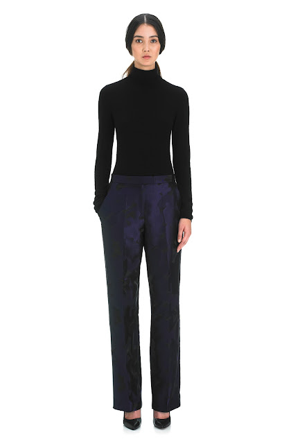 wide leg jacquard trousers
