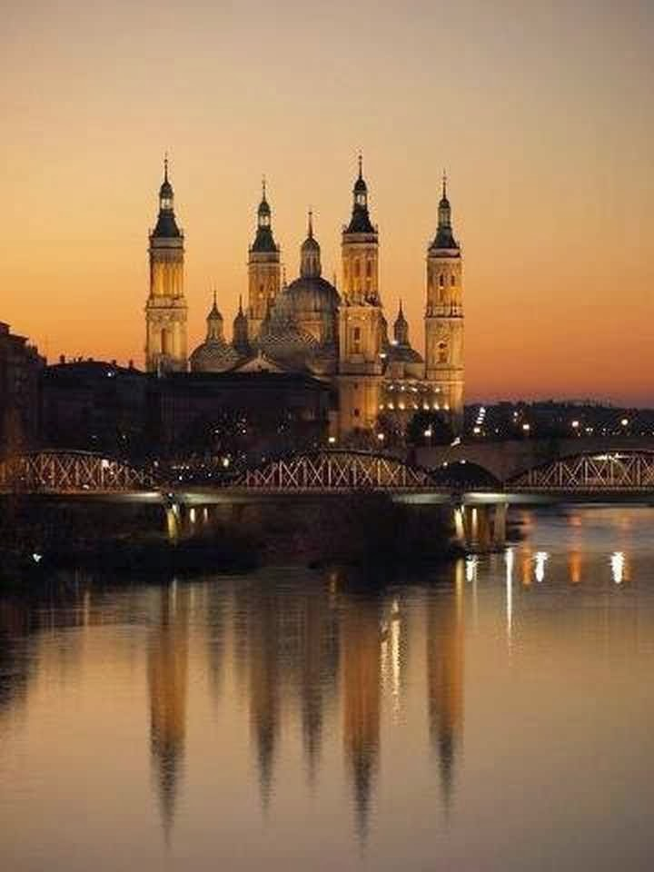 Sunset in Zaragoza, Spain.