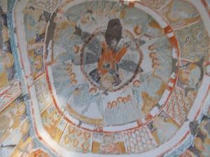 """Religious Christian frescoes inside""""Daniel Pantanossa"""" cave church."""