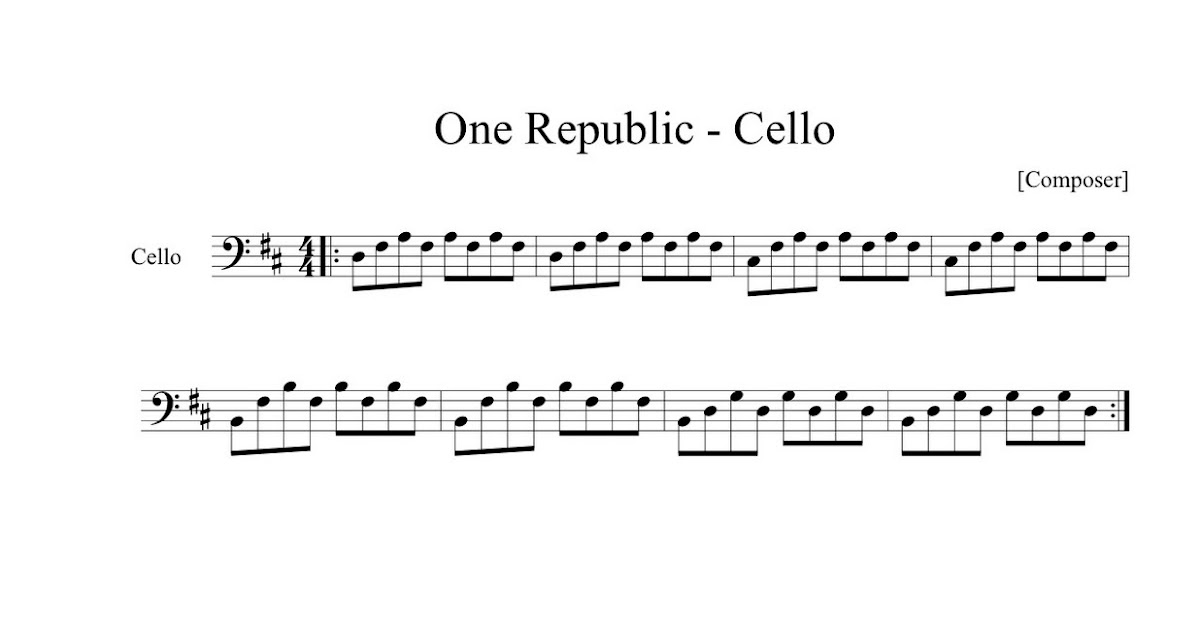 Montana Cellist One Republic Secrets Cello Sheet Music