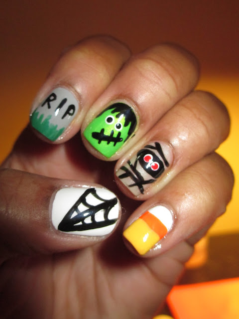 Halloween, Frankenstein, spider web, candy corn, mummy, RIP, tombstone, nail art, nail design, mani