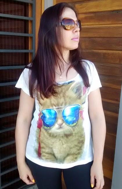 T-Shirt, DonnaDellas, Camisetas, Recebido, Resenha, Parceria, Gato, Verão, Look do Dia,