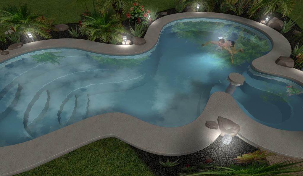 render 3D de piscina residencial con mujer nadando