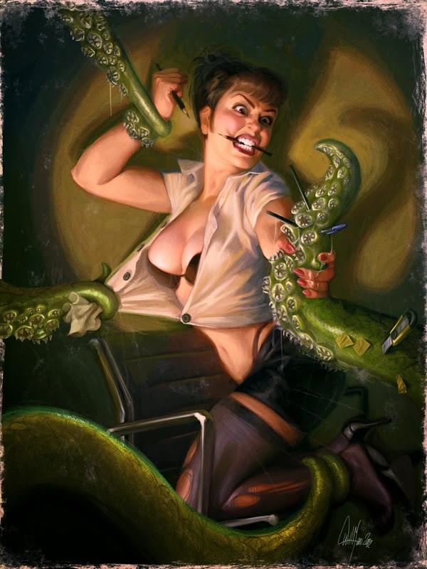 illustration de Will Murai représentant une pin up attaquée par des tentacules vertes