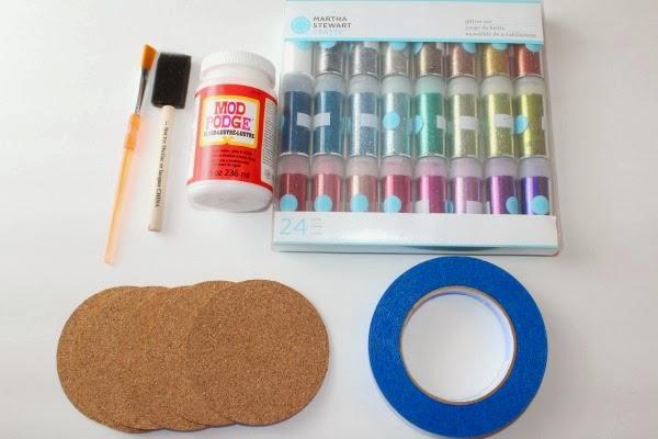 Glittery Cork Board Coasters Craft