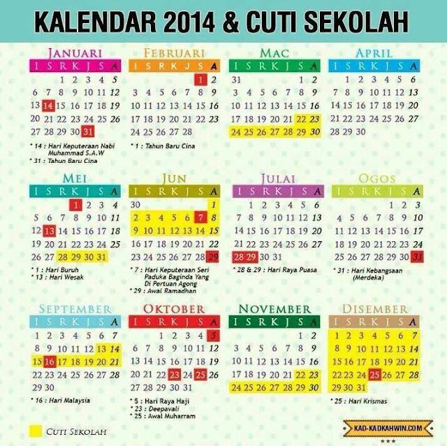 Kalendar & Takwim Cuti Sekolah 2014