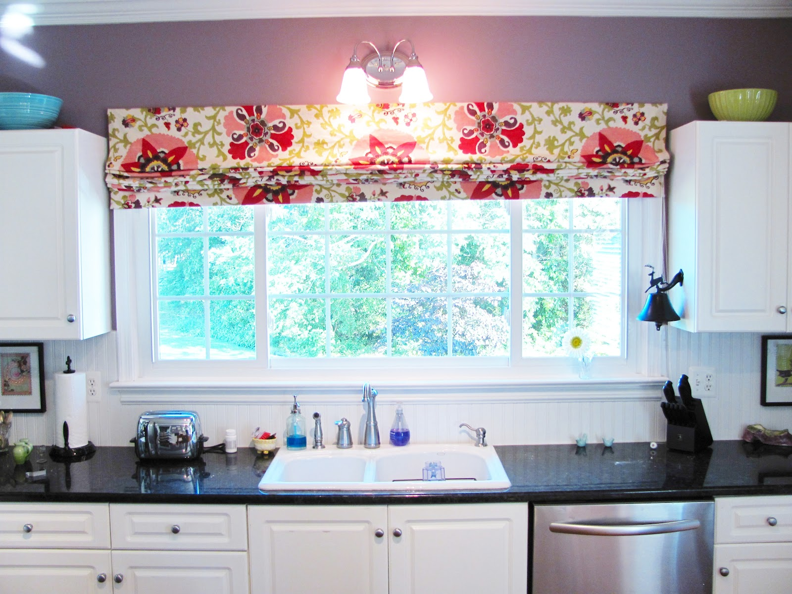 Silver lining decor graphic roman shades for Fabric shades for kitchen windows