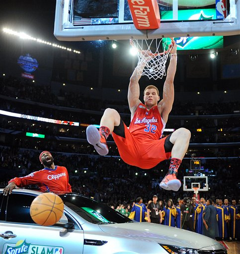 Blake Griffin Dunking Over Car. NBA dunk contest participants