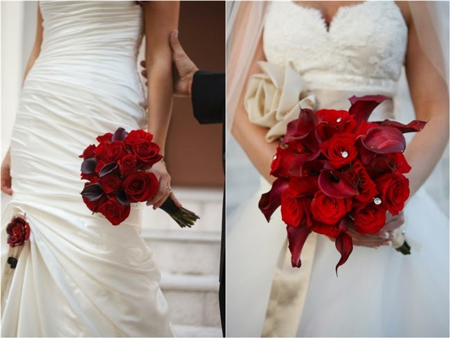 Dark Red Roses with black calla lilies bridal bouquets