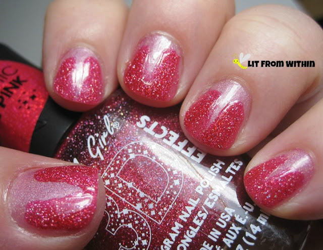 V-gap with LA Girl 3-D Dazzling Pink, a hot pink scattered holo.