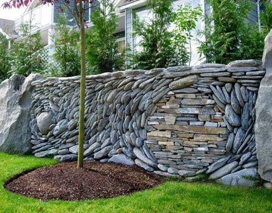natural stacked stone wall ideas