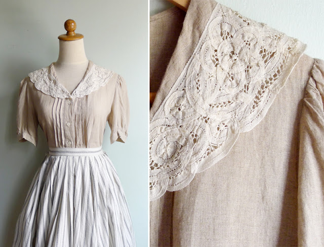 vintage laura ashley linen blouse