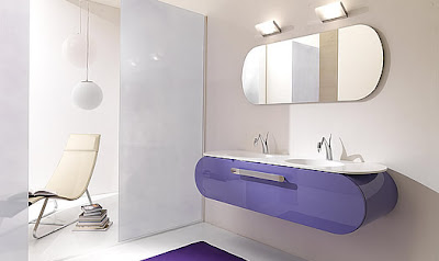 White Purple Rounded Bathroom Furniture
