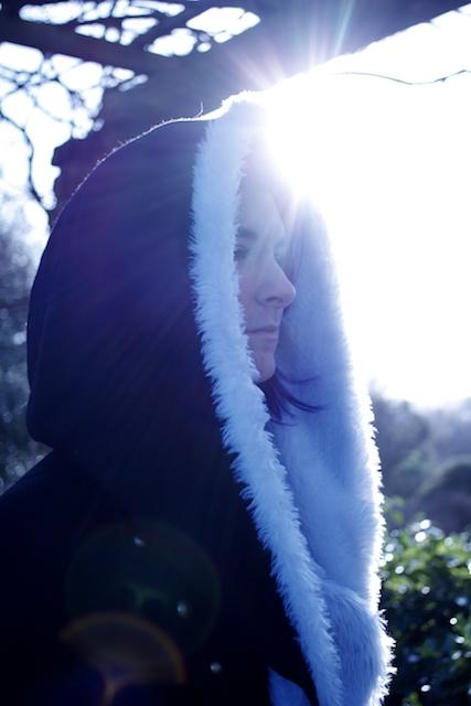 white fur hood