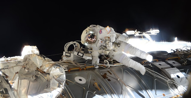 ESA astronaut Tim Peake during his 4 hour 43 minute spacewalk to replace a failed power regulator and install cabling. Credit: ESA