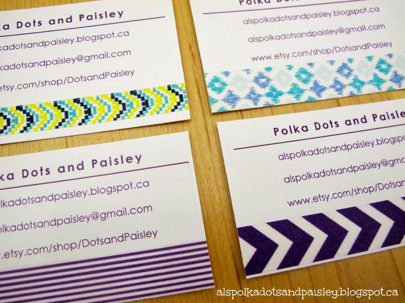 Polka Dots and Paisley Homemade Washi Tape Business Cards