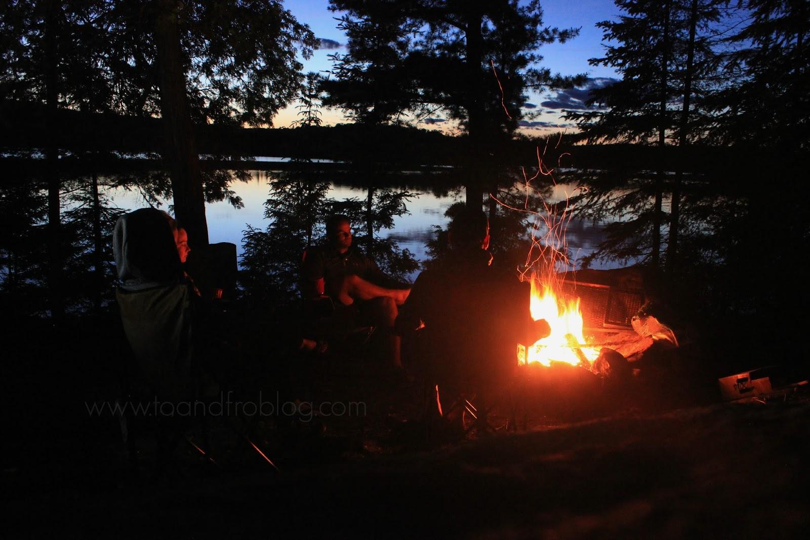 campfire in algonquin provincial park, ontario canada