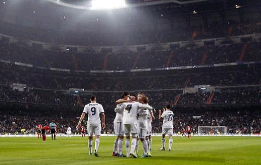 Real Madrid players celebrate a Cristiano Ronaldo goal