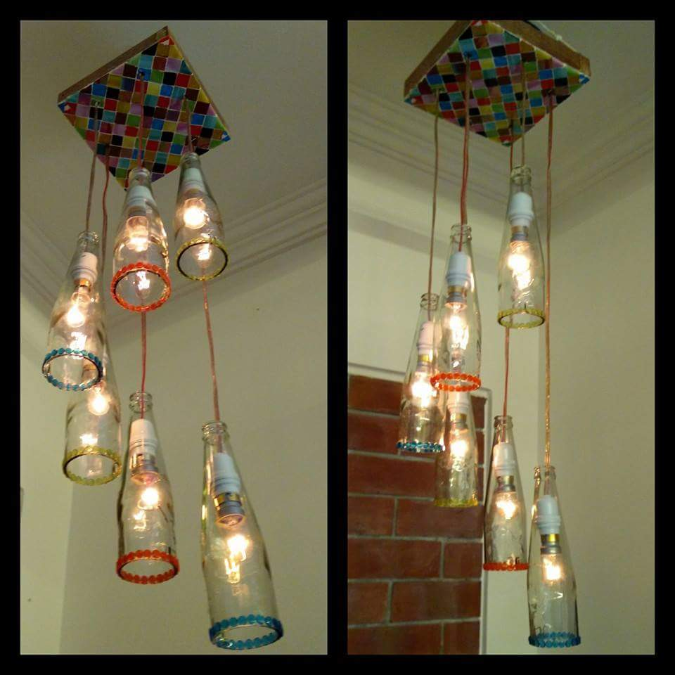 Handmade crafts for home decoration from waste bottles for Decoration with waste bottles
