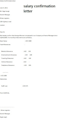salary confirmation letter, salary cerificate sample, salary certificate format