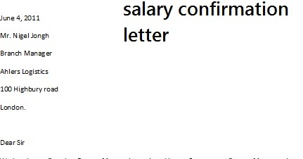 Salary Confirmation Letter – Salary Confirmation