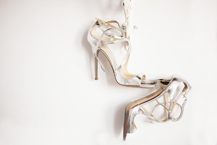 Jimmy Choo Lance silver metallic sandals, single sole heels