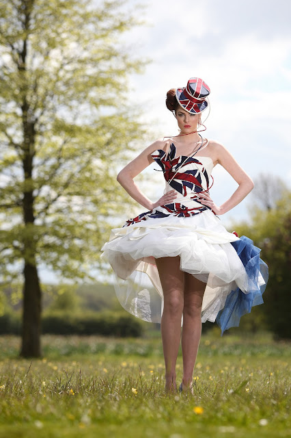 Charlotte Girdwood model Kelly Ewings Jubilee Dress. pic: Doug Jackson