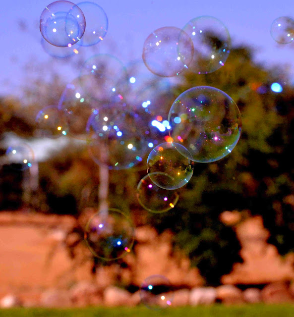 A bunch of bubbles in focus and out of focus